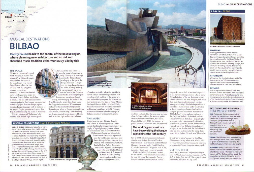 Bilbao, destino musical en BBC Music Magazine