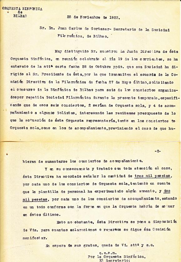 1922: carta de la Sinfónica de Bilbao a la Sociedad Filarmónica. Original: archivos de la Bilbao Orkestra Sinfonikoa