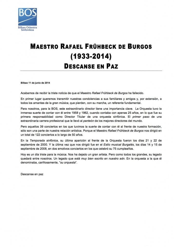 BOS. fallecimiento de Frühbeck de Burgos