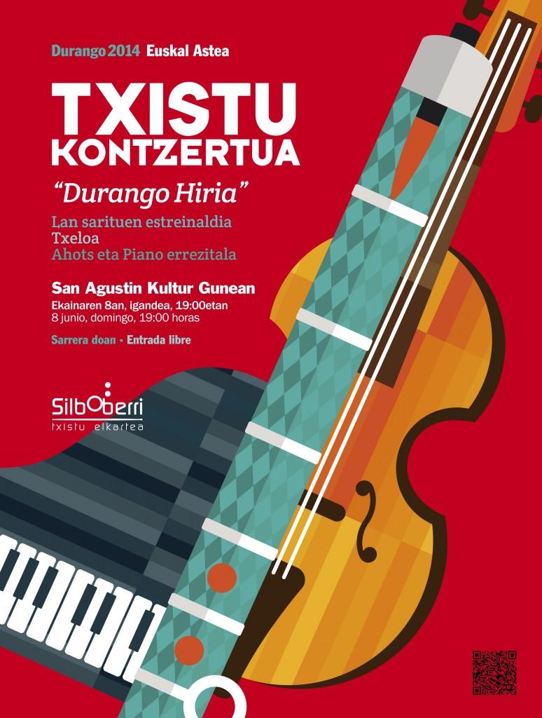 "Cartel anunciador del ""Durango Hiria"", concurso internacional de composición de obras para txistu Cartel: BIKO komunikazioa"