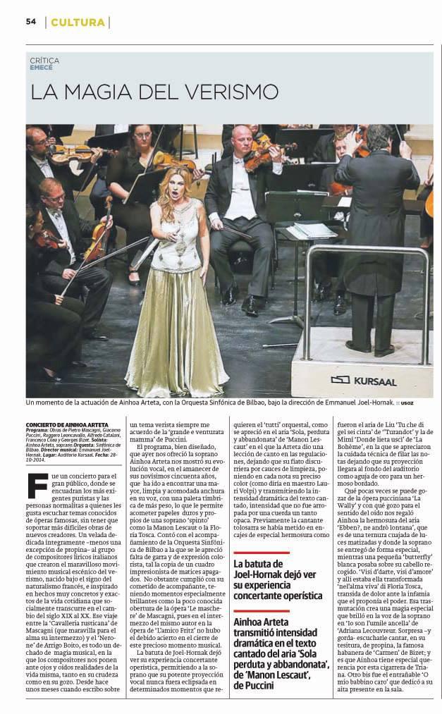 Página dedicada al concierto de Arteta en el Kursaal con la BOS