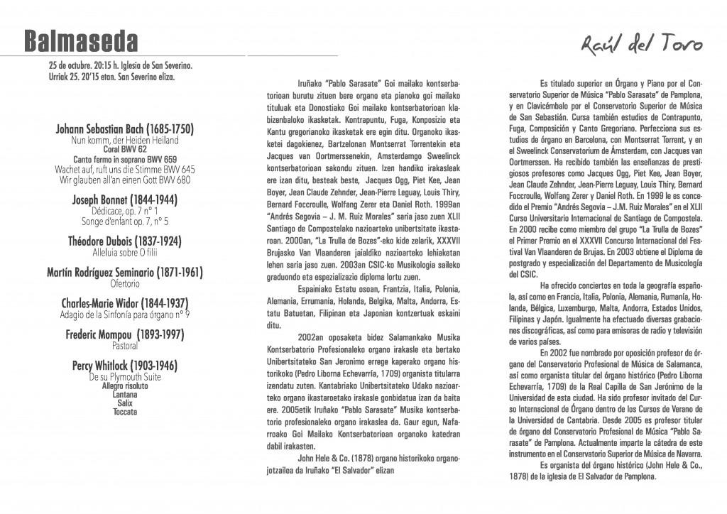 Programa del concierto de Raúl del Toro. Balmaseda, 25-X-2014