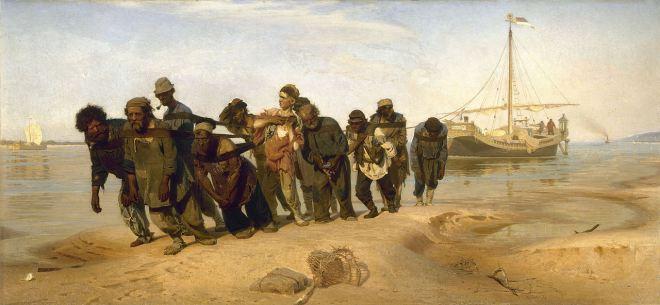 """Ilia Repin. """"Sirgadores del Volga"""". 1870-1873. Óleo sobre lienzo. 131,5 x 281 cm. Museo Estatal de Arte Ruso, San Petersburgo"""