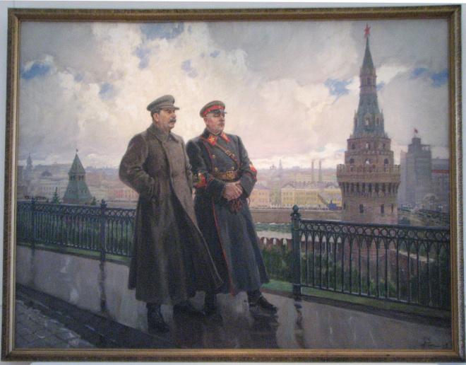 """Alexander Guerasímov: """"Stalin y Voroshilov en el Kremlin"""", 1938. Óleo sobre lienzo, 300 x 390 cm. Galería Estatal Tretiakov, Moscú."""