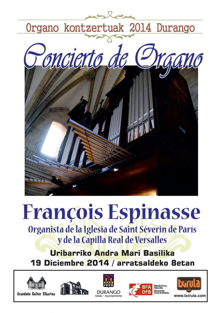 Cartel del concierto de F. Espinasse en Durango.