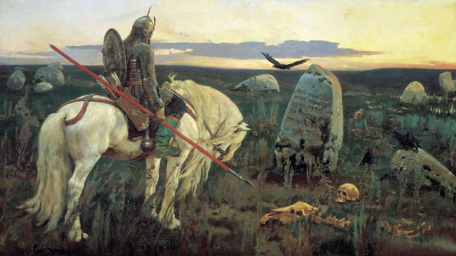 """Víctor Vasnetsov: """"Guerrero en la encrucijada"""", 1878. Óleo sobre lienzo, 147 x 79 cm. Museo de Historia y Arte, Serpujov."""