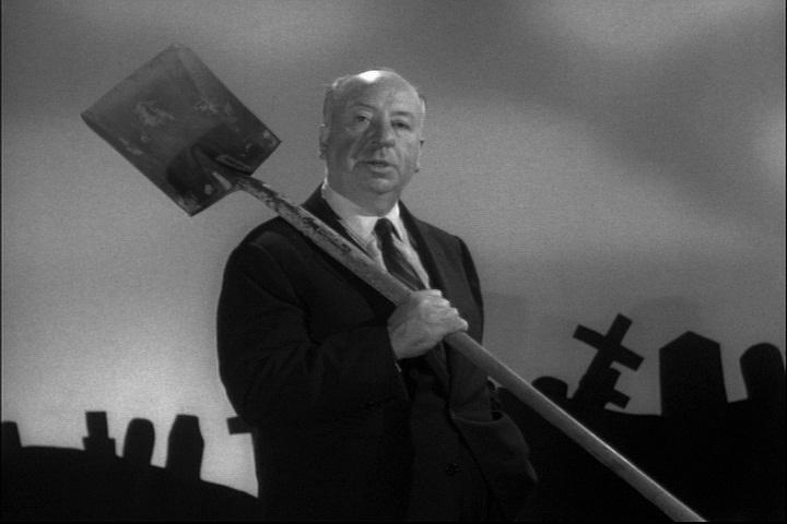 Alfred Hitchcock como enterrador