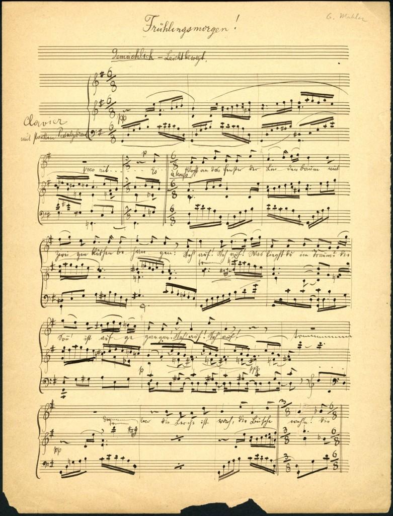 """Facsímil de la partitura de """"Frühlingsmorgen"""", de Mahler. http://hampsongfoundation.org/"""