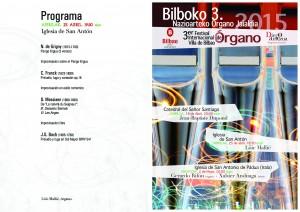 Programa del concierto de Löic-Mallié. 25-IV-2015