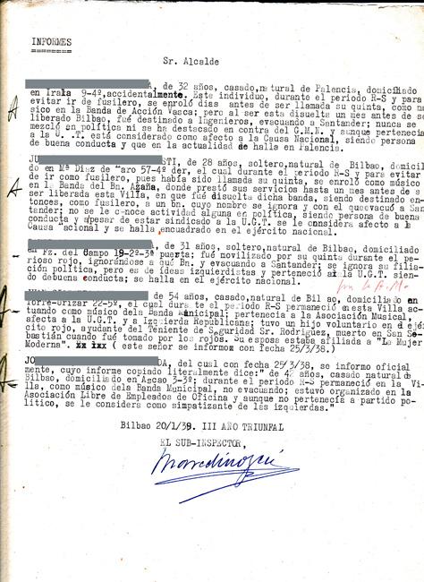 1939ko urtarrilaren 20an Bilboko alkateari zuzendutako txostenean, musikagile talde baten ideologia eta ibilibide politikoari dagozkion datuen berri ematen diote. Alkatea José Félix de Lequerica falangista zen.