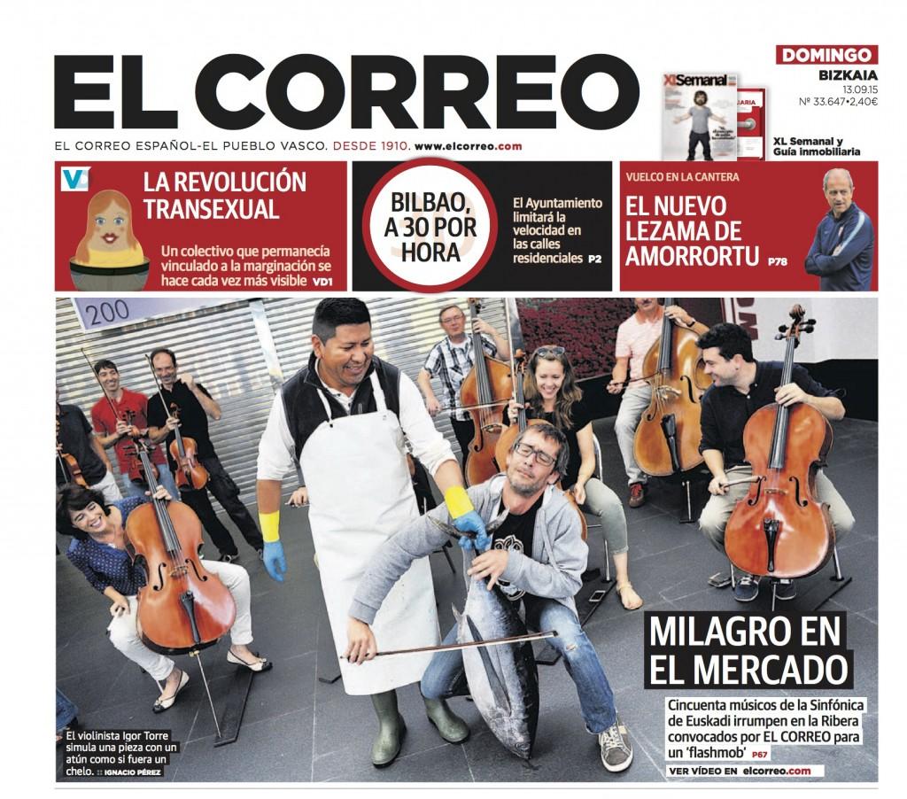 La Sinfónica de Euskadi en la Ribera, portada en El Correo.