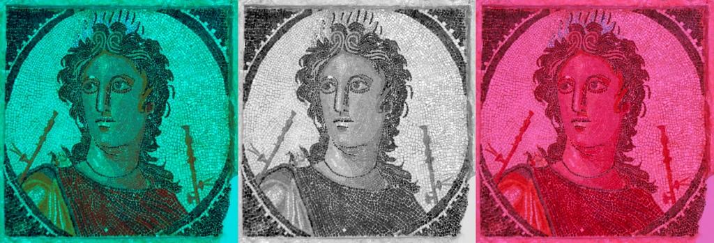 Montaje sobre un mosaico de Euterpe. Museo Arqueológico de Tarragona.