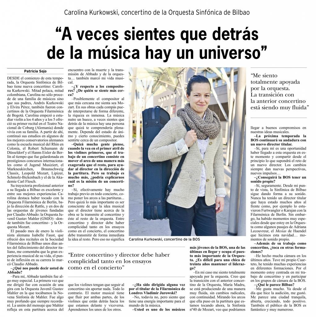 Entrevista de Patricia Sojo a la concertino en el periódico Bilbao, abril de 2014