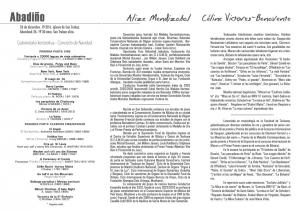 Programa del concierto de navidad de Alize Mendizabal y Cèline Victores-Benavente. Abadiño 26-XII-2015
