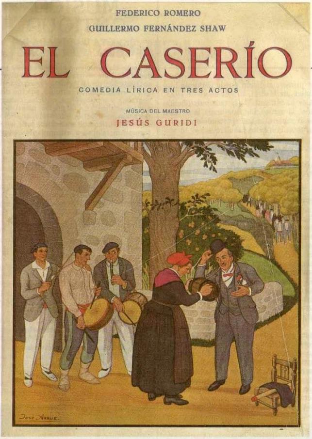 """Portada del libreto de """"El Caserío"""". Fuente: http://www.memoriadigitalvasca.es"""