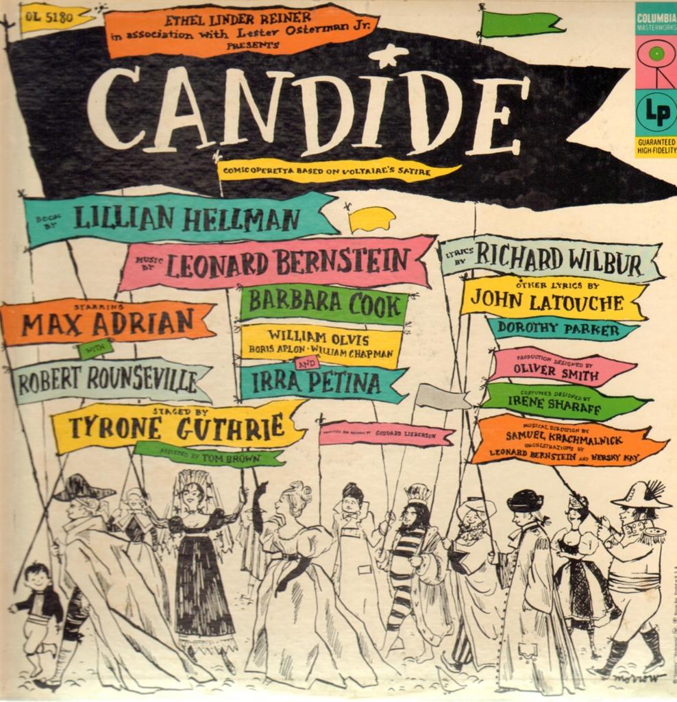 """Carátula del disco """"Candide"""" con el elenco del estreno en Broadway"""