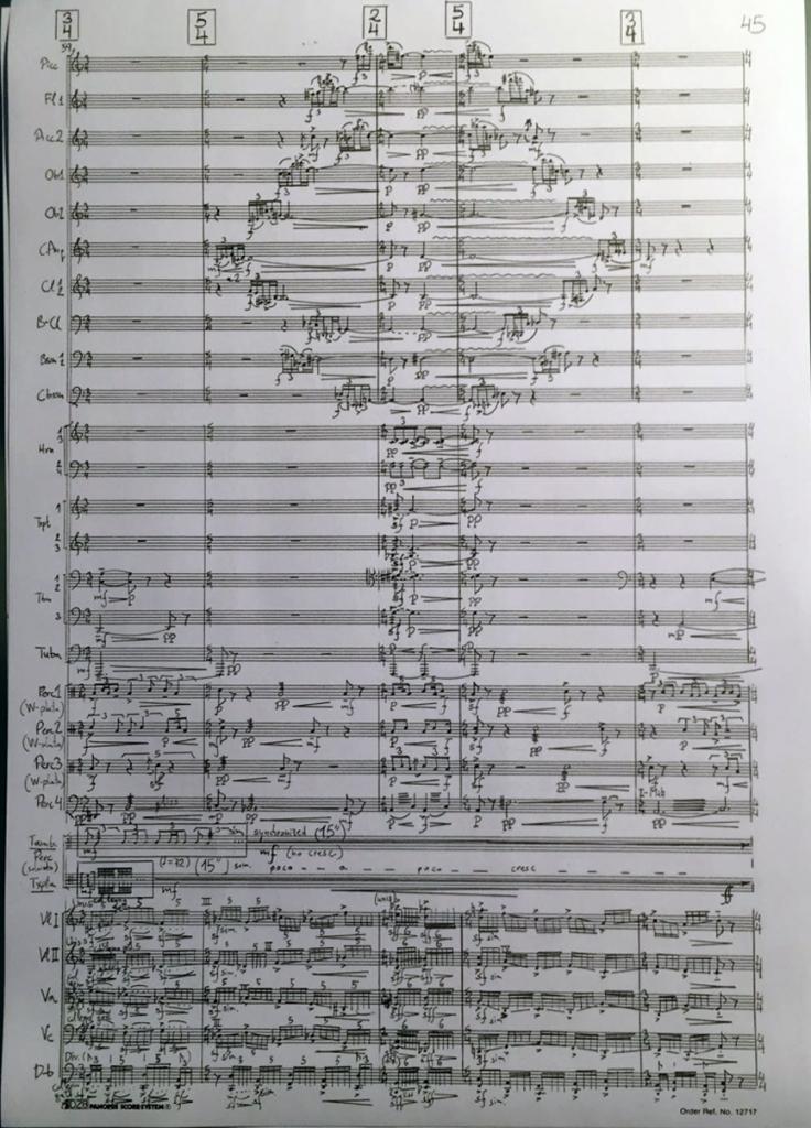 Partitura manuscrita de ZUHAITZ © Gabriel Erkoreka