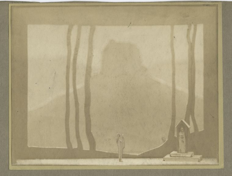 Boceto para la escena del Acto I de Tannhaüser. Foto del boceto: Hagelstein. © The New York Public Library Digital Collections