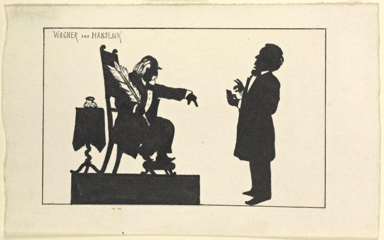 Richard Wagner ante el célebre crítico Eduard Hanslick. © The New York Public Library