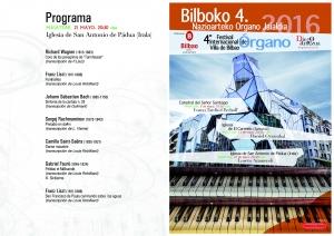 Programa del concierto de Loreto Aramendi. San Francisco de Padua (Irala). 21-V-2016