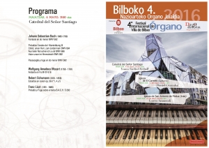 Programa del concierto de Yoann Tardivel Erchoff. Catedral de Bilbao 6-IV-2016