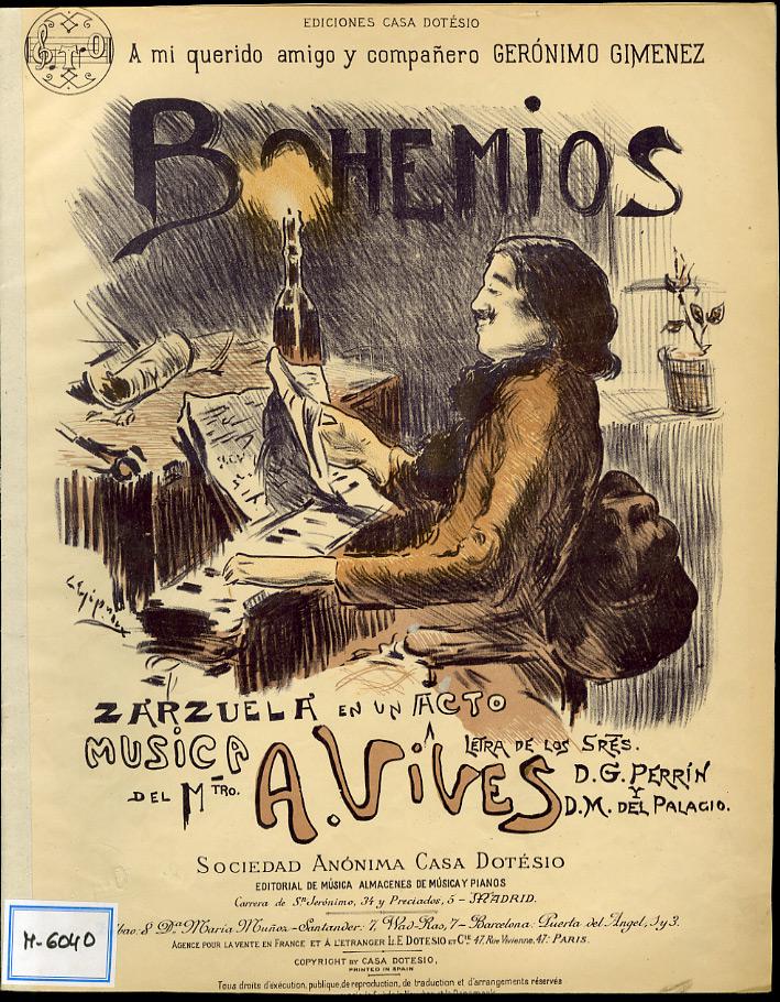 """Portada de la zarzuela """"Bohemios"""". Archivos de la Real Academia de Bellas Artes de San Fernando"""