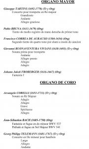 Programa del concierto de Thomas Ospital (org) y Laurent Dupéré. Ziorrtza, 5-VI-2016