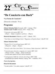 """Obras que integran el """"De Concierto con Bach"""" - """"La Forma de Concierto"""". Patxi García Garmilla. Catedral de Bilbao. 21-VII-2016"""