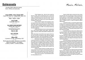 Programa del concierto de Monica Melcova. Balmaseda 1-X-2016
