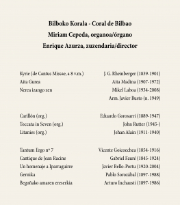 Programa mano Programa de mano del concierto Begoñan Kantari 10-X-2016. Fuente: Fundación Bilbao 700