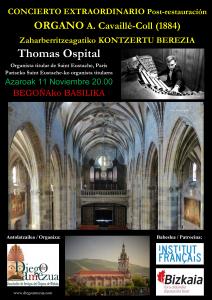 Cartel anunciador del concierto del organista Thomas Ospital en la Basílica de Begoña. Autor: Pablo Cepeda