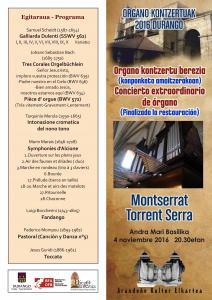 Programa del concierto. Montserrat Torrent, Durango. 4-XI-2016