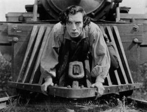 """Fotograma del largometraje """"El maquinista de La General"""" (Buster Keaton, 1926) Fuente: Wikipedia."""