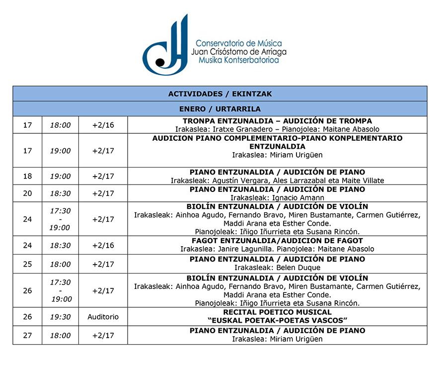 Enero en el Conservatorio JC Arriaga