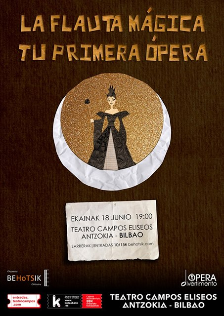 """Orquesta Behotsik y Ópera Divertimento presentan """"La flauta mágica. Tu primera ópera"""" en el Campos Elíseos"""