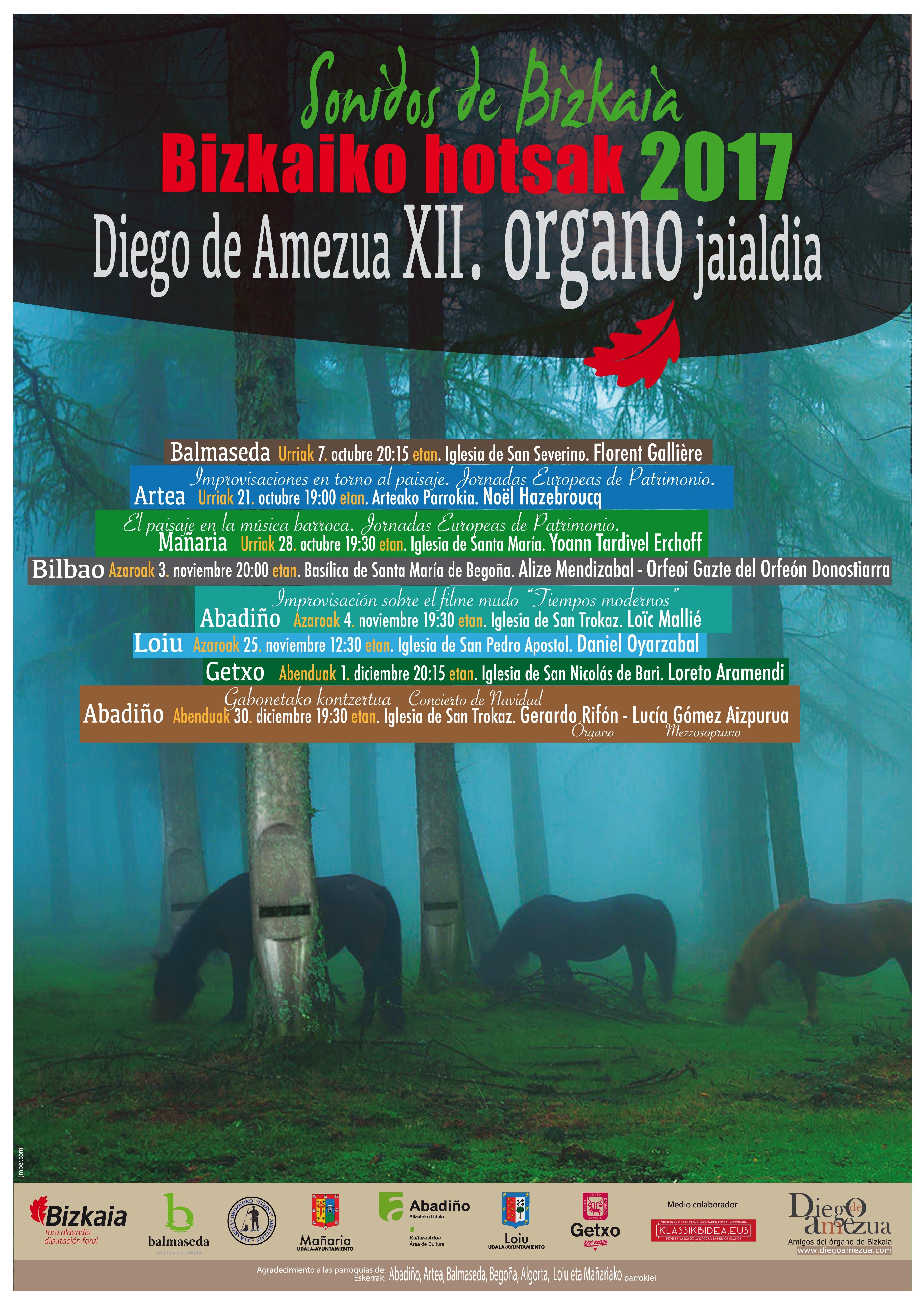 """Inicio del XII Festival de órgano de Bizkaia """"Bizkaiko hotsak 2017"""" con Florent Galière en Balmaseda"""