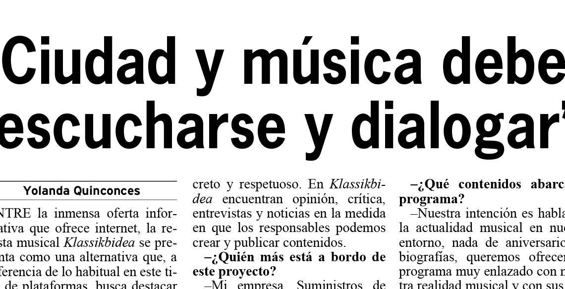 Klassikbidea y Klassikbidea Radio en el periódico Bilbao
